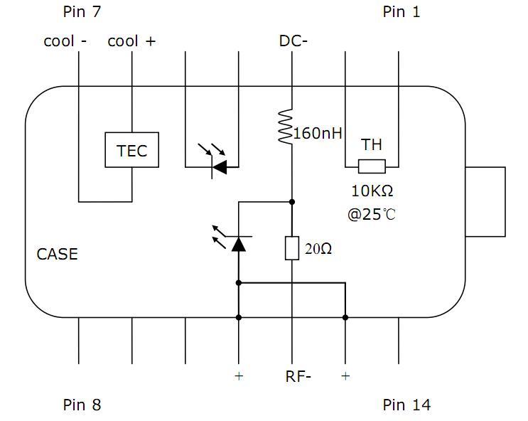 m的保偏尾纤 6,fc/apc连接器 7,无内置光隔离器                 电路
